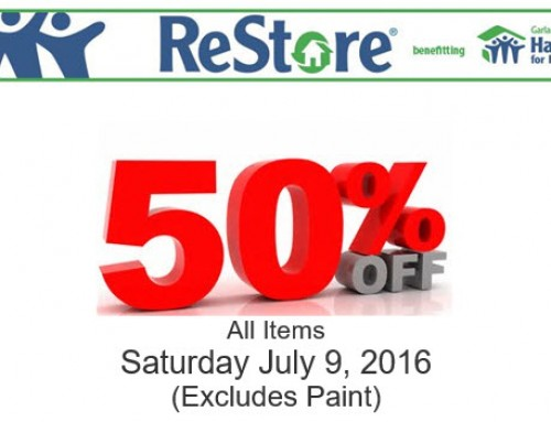 50% Off Sale on All Items (Excluding Paint) at the Garland ReStore